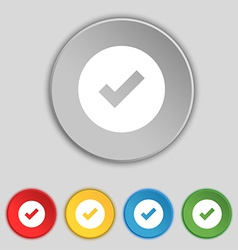 Check mark tik icon sign symbol on five flat vector