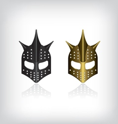 Medieval black and gold warrior helmet vector