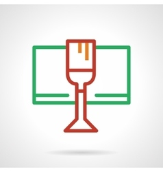 Red wine glass simple color line icon vector