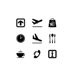 Airport black icons vector