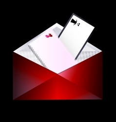 Red envelope and couple cards vector