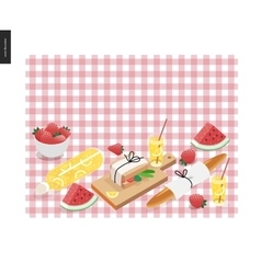 Picnic plaid and snack vector