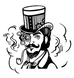 Steampunk man in top hat and glasses with the vector