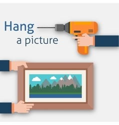 Hang a picture vector
