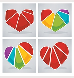 bright hearts collection vector image