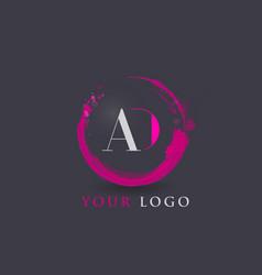 Ad letter logo circular purple splash brush vector