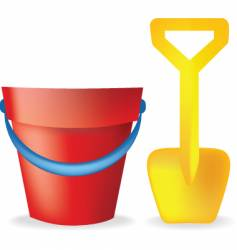 bucket and spade vector image vector image