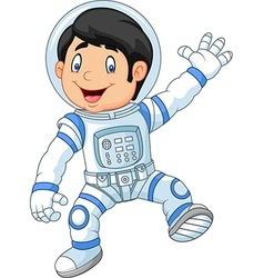 Cartoon little boy wearing astronaut costume vector