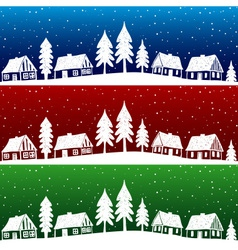 Christmas village with snow seamless pattern vector