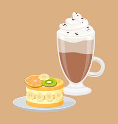 Cup of coffee with fruit cake vector