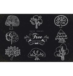 Custom hand made tree icons set vector