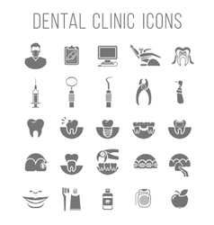Dental clinic services flat silhouettes icons vector image