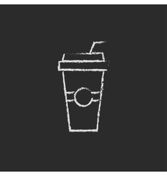 Disposable cup with drinking straw icon drawn in vector