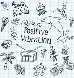 Doodle set against the background of notebook vector image