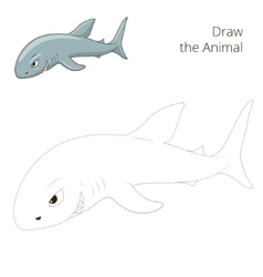 Draw the fish animal shark educational game vector image vector image