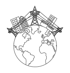 Earth globe with buildings and electricity towers vector