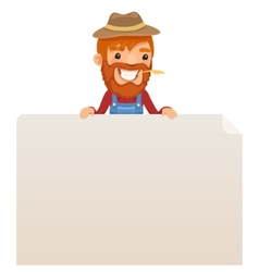 Farmer looking at blank poster on top vector image