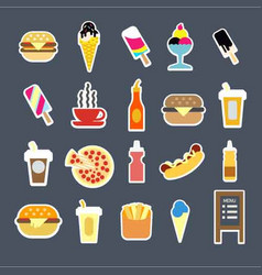 Fast food menu burgers drinks or desserts vector