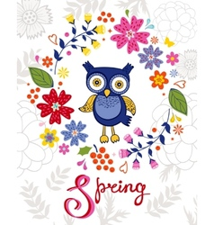 Funny owl in floral wreath vector image