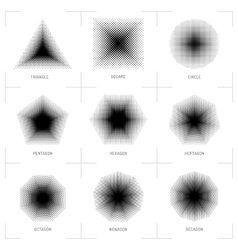 Halftone geometric shapes dot pattern vector