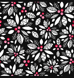holly berry black white red holiday vector image vector image