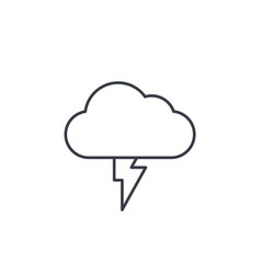 Lightning thunderstorm cloud weather thin line vector