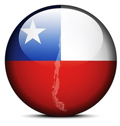 Map on flag button of republic of chile vector