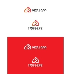 orange and red house logo vector image vector image