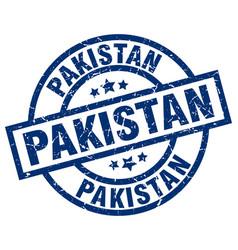 pakistan blue round grunge stamp vector image
