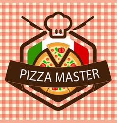 Pizza master logo italian flag vector