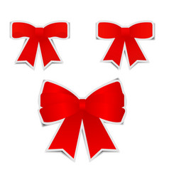 Red bows sticker with shadow on white background vector
