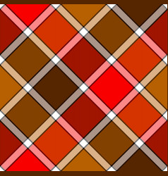 Red orange color diagonal check plaid seamless vector
