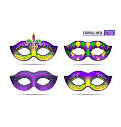 set of mardi gras masks vector image