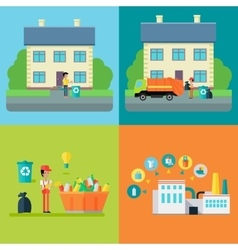Set of Waste Recycling Concept vector image vector image