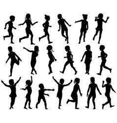 Set silhouettes childrens jumping running vector