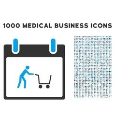 Shopping cart calendar day icon with 1000 medical vector