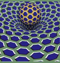 Sphere above blue hexagons hole optical motion vector