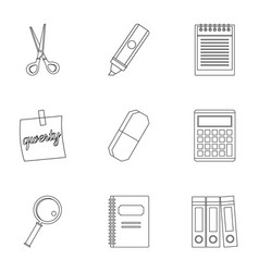stationery symbols icon set outline style vector image vector image