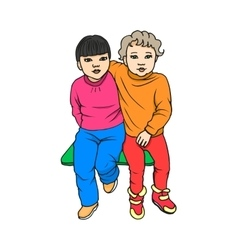 The concept childhood friendship vector