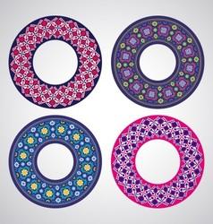 Ukrainian embroidered round motifs vector