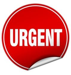 Urgent round red sticker isolated on white vector