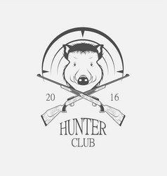 weapons and a boar hunting label vector image