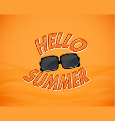 Yellow vintage background with hello summer and vector