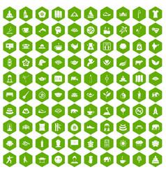 100 yoga icons hexagon green vector