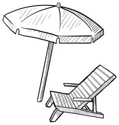 Doodle beach chair umbrella vector