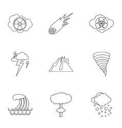 Natural cataclysm icons set outline style vector