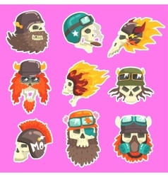 Colorful scull stickers with war and biker culture vector