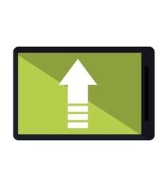 Mobile phone upload arrow gadget vector