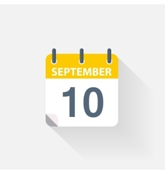 10 september calendar icon vector image