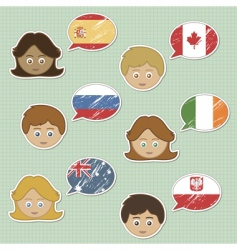 Faces and flag stickers vector